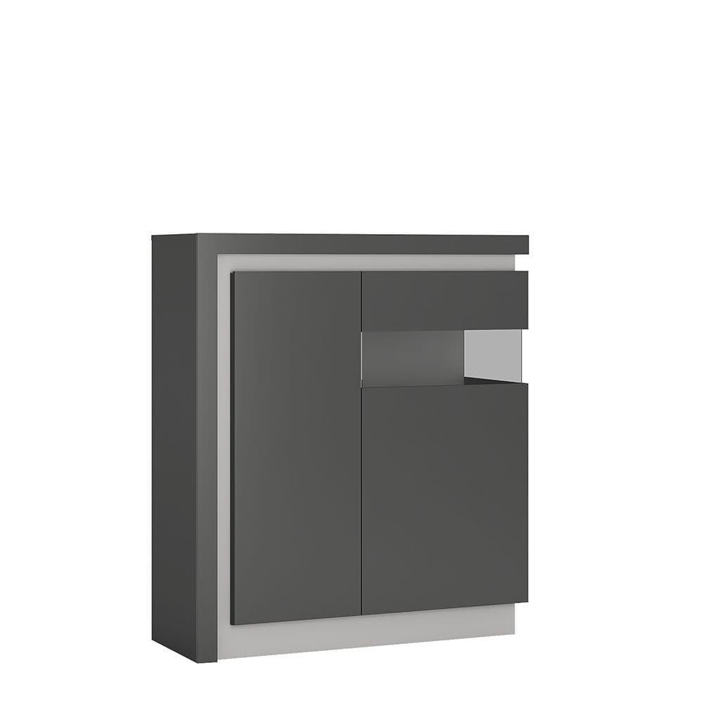 Metropolis 2 door designer cabinet (RH) (includes LEDs) in Platinum/light grey gloss